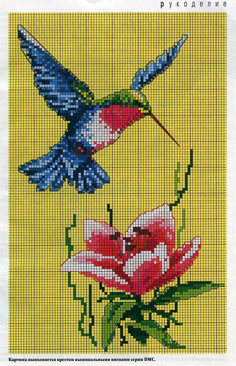 Птички цветы схемы для вышивки крестом
